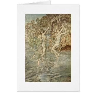 Diosas griegas sobre el agua tarjeta de felicitación