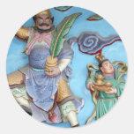 Dioses chinos etiquetas redondas