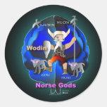 Dioses de los nórdises etiquetas redondas
