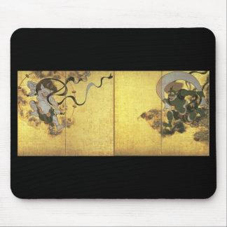Dioses del viento y del trueno, C. 1600's Japón Tapetes De Ratón