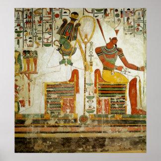 Dioses Osiris y Atum, de la tumba de Poster