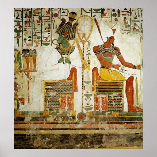 Dioses Osiris y Atum, de la tumba de Póster