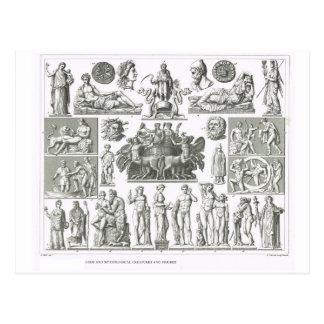 Dioses y criaturas míticas tarjeta postal