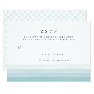 Dip Dye Watercolor RSVP Card | Aqua
