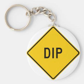 Dip Highway Warning Sign Keychains