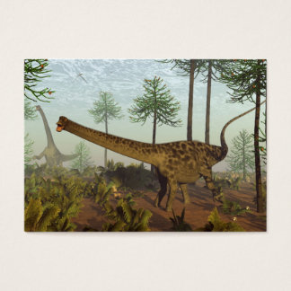 Diplodocus dinosaurs among araucaria trees - 3D re Business Card