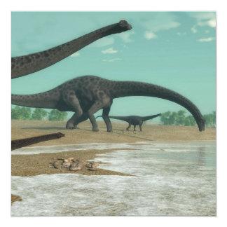Diplodocus dinosaurs herd - 3D render Card