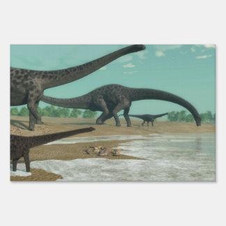Diplodocus dinosaurs herd - 3D render Lawn Sign
