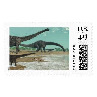 Diplodocus dinosaurs herd - 3D render Postage