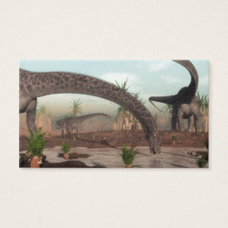 Diplodocus dinosaurs herd going to drink business card