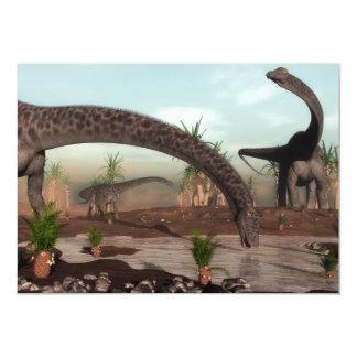 Diplodocus dinosaurs herd going to drink card