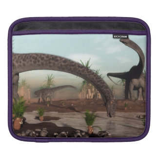 Diplodocus dinosaurs herd going to drink sleeve for iPads