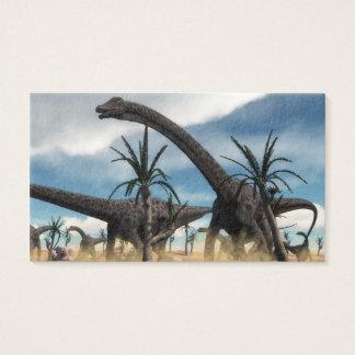 Diplodocus dinosaurs herd in the desert business card