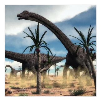 Diplodocus dinosaurs herd in the desert card