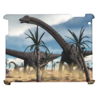 Diplodocus dinosaurs herd in the desert iPad case