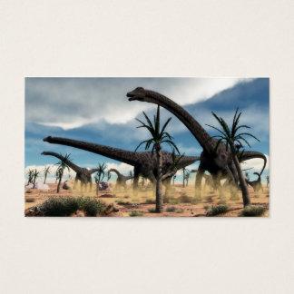 Diplodocus herd in the desert business card