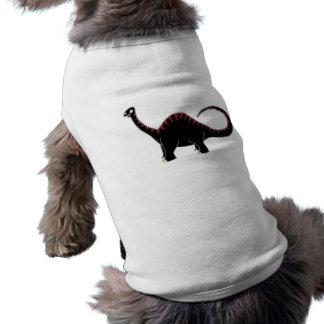 Diplodocus negro playera sin mangas para perro