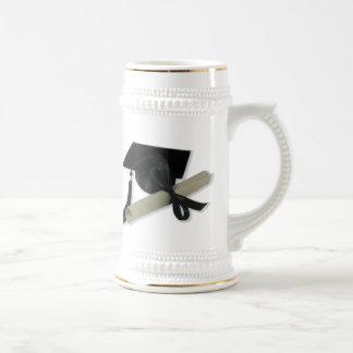 Diploma and Graduation Cap ( Mortar Board ) Beer Stein