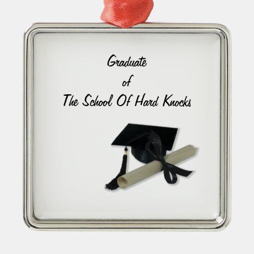 Diploma and Graduation Cap ( Mortar Board ) Square Metal Christmas Ornament