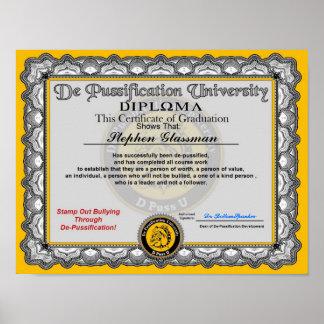 Diploma de De Pussification University Póster