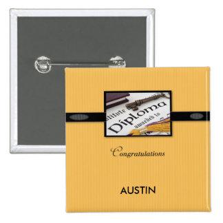 Diploma de la graduación, negro, oro, regalo pin cuadrado