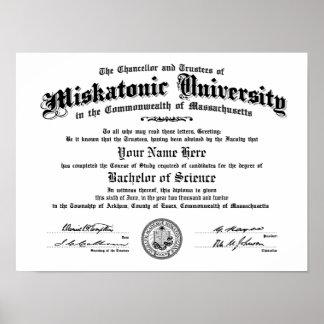 Diploma de la universidad de Miskatonic -- Mecanog Póster