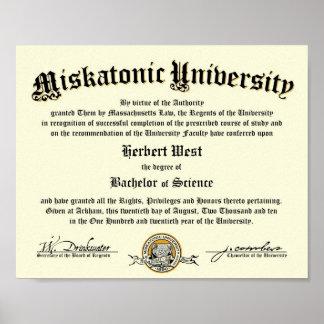 Diploma de la universidad de Miskatonic Póster