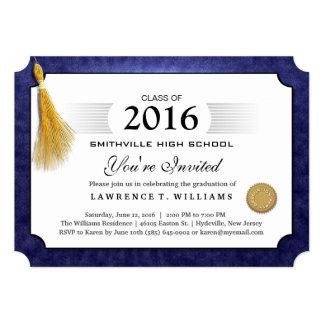 """Diploma de los azules marinos con la graduación de invitación 5"""" x 7"""""""
