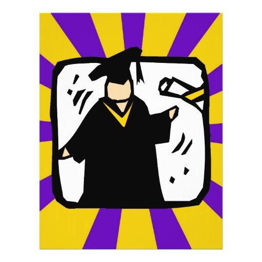 Diploma de recepción graduado (2) púrpura y oro tarjeton