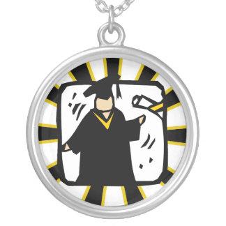 Diploma de recepción graduado - negro y oro colgante redondo
