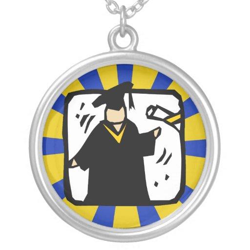 Diploma de recepción graduado - oro y azul colgante redondo