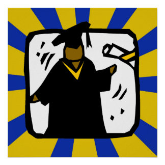 Diploma de recepción graduado - oro y azul póster
