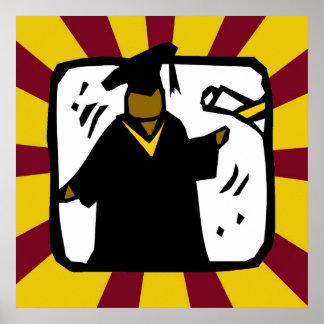 Diploma de recepción graduado - oro y rojo póster