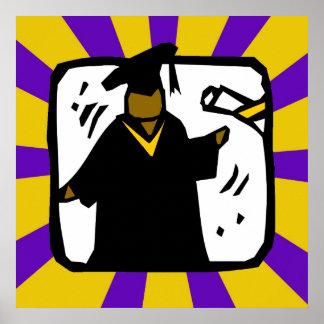 Diploma de recepción graduado - púrpura y oro póster
