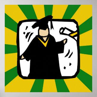 Diploma de recepción graduado - verde y oro póster