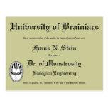 Diploma del Dr. Frankenstein, postal