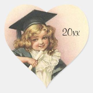 Diploma dulce del graduado de la graduación del pegatina en forma de corazón
