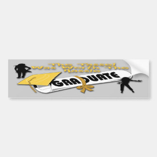 Diploma Gold Grad Cap (Female) Bumper Stickers