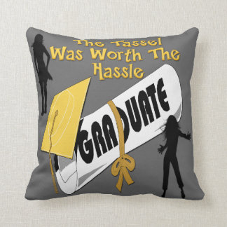 Diploma Gold Grad Cap (Female) Throw Pillow