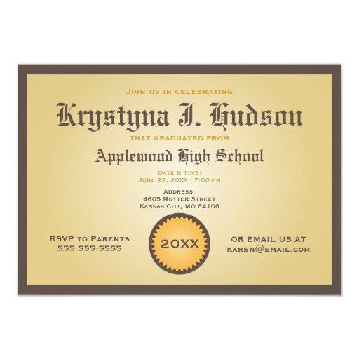 Diploma - invitación de la fiesta de graduación
