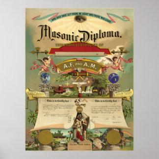 Diploma masónico del AF y de la Poster
