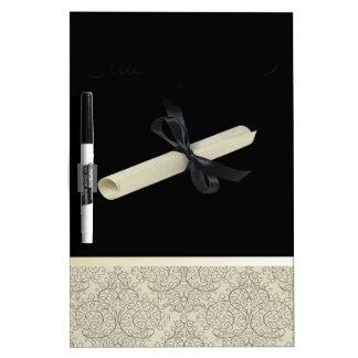 Diploma on Black with Damask Design Trim Dry-Erase Board