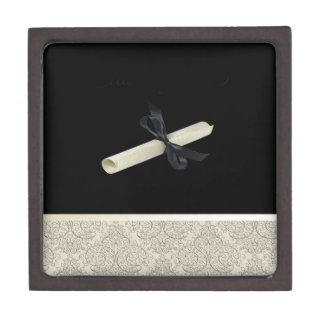 Diploma on Black with Damask Design Trim Keepsake Box
