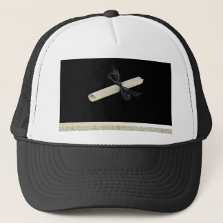 Diploma on Black with Damask Design Trim Trucker Hat