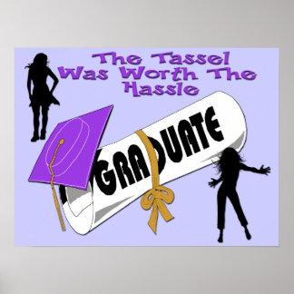 Diploma Purple Grad Cap (Female) Poster/Print Poster