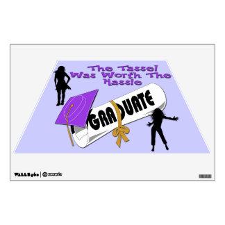 Diploma Purple Grad Cap (Female) Wall Decal