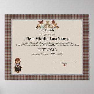 Diploma Raggedy de Ana Homeschooler Póster