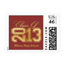 Diploma Themed Red & Gold Class of 2013 Graduation Postage Stamps