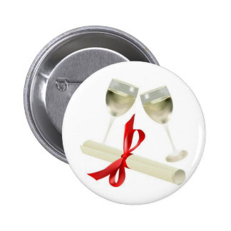 Diploma/Wine Glasses Pinback Buttons