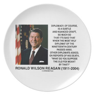 Diplomacy Subtle Nuanced Craft Diplomat Reagan Melamine Plate